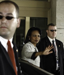 Condoleezza rice looks well protected. Hope those guys are fitter than they look!