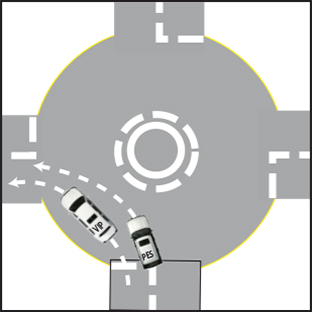 A left turn at a roundabout can be treated just like any other left turn